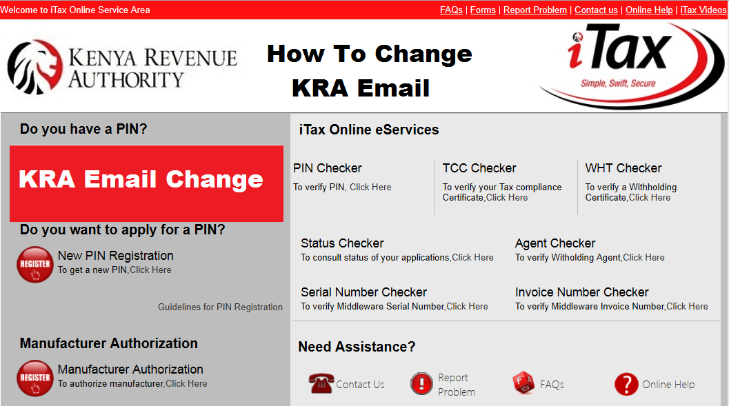 how to change kra email