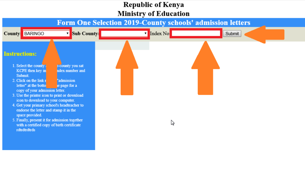 form one selection 2019 kenya