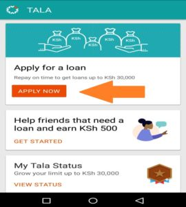 Tala loan application form
