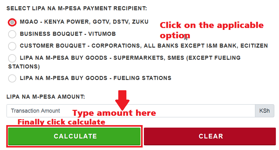 mpesa paybill charges calculator