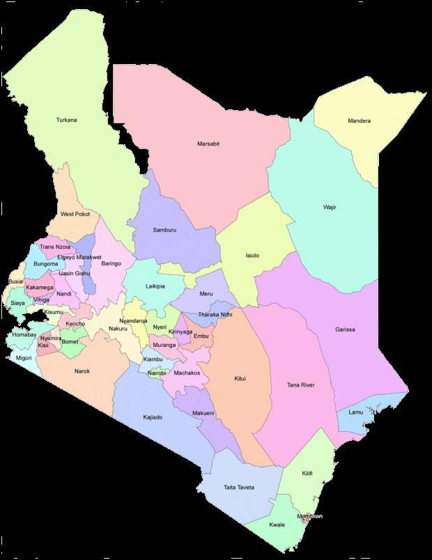 Map of Kenya Counties